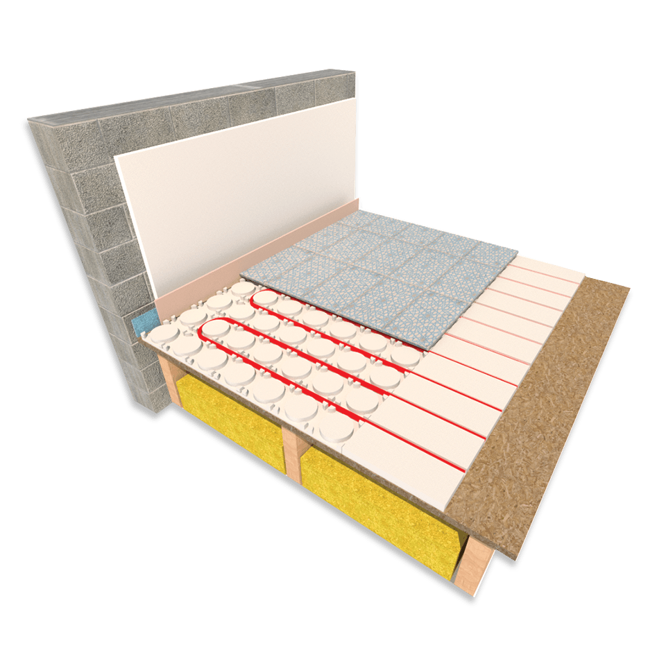 CosyBoard gypsum fibre underfloor heating board laid on a timber separating floor